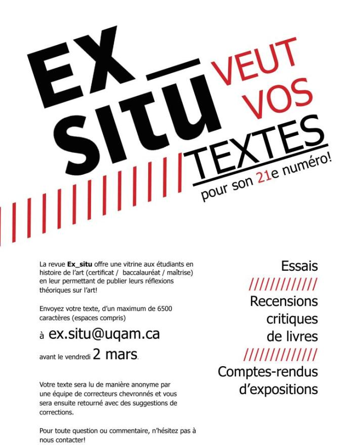 Il est encore temps d'envoyer vos textes ! Nous les accepterons jusqu'au 3 mars (17h) !