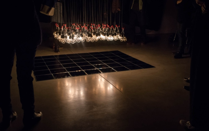 Ludovic Bonney et Caroline Monnet, Hydro (prototype) Vue de l'installation présentée à OBORO, 10 novembre 2016 © Denis McCready
